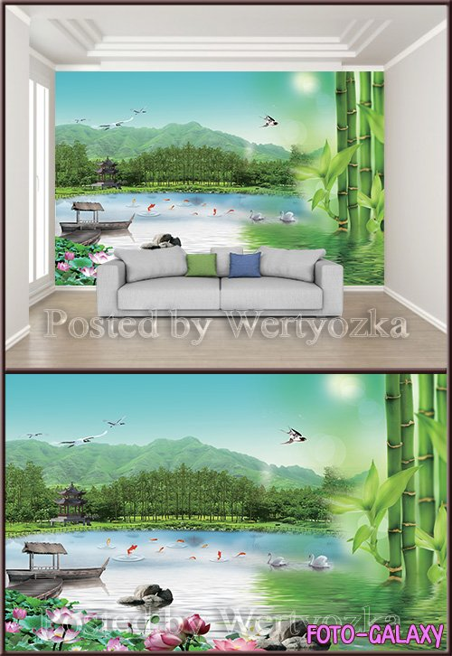 3D psd background wall lotus boat green bamboo attic bird