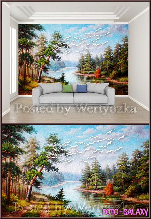 3D psd background wall beautiful hand painted oil painting landscape