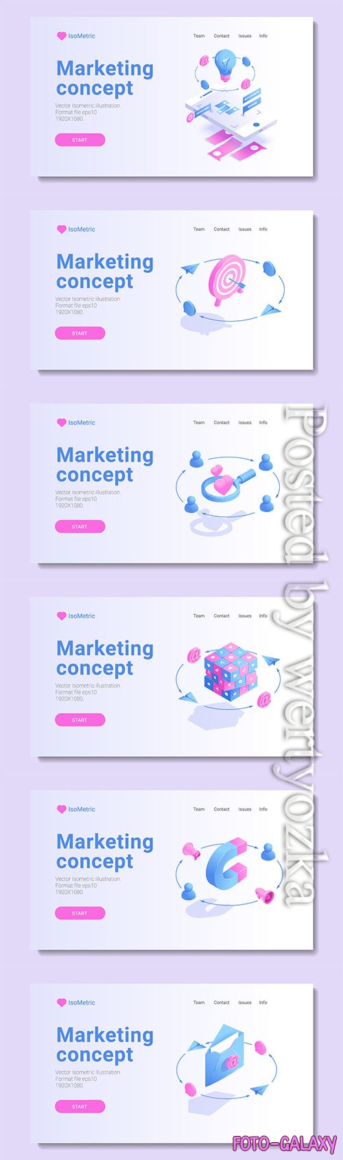 Set of banners with isometric vector illustration # 7