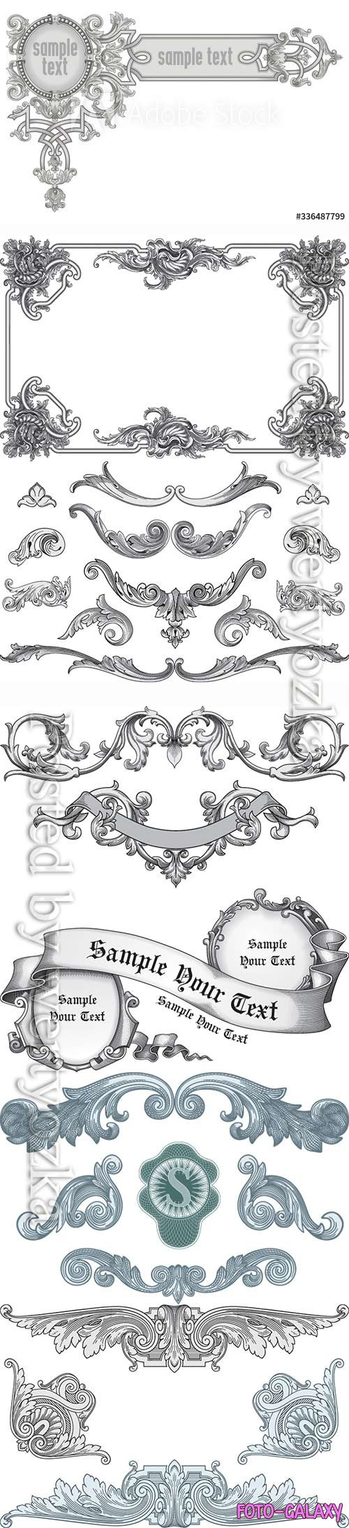 Vintage frame corner, design element vector