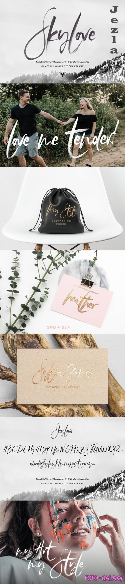 SkyLove SVG Watercolor Font - 2651083