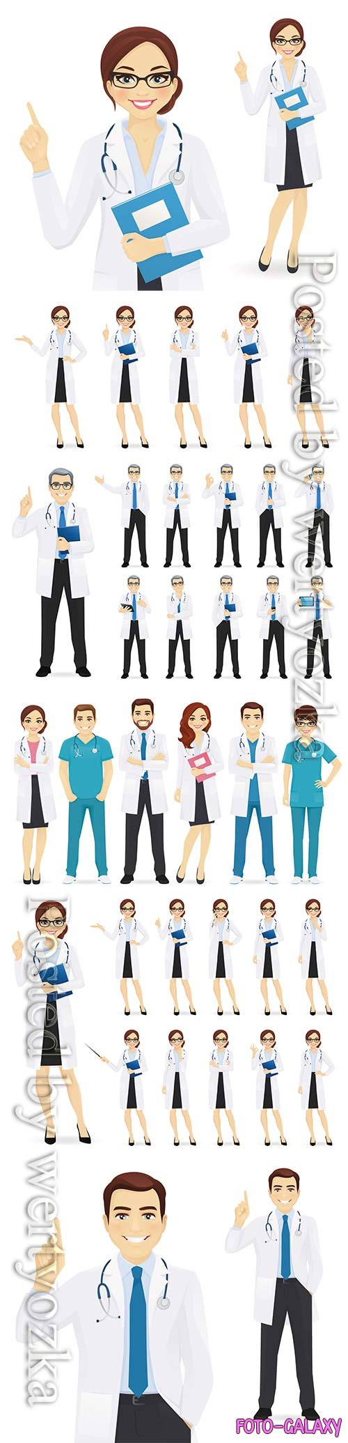 Doctors team in different poses set vector illustration