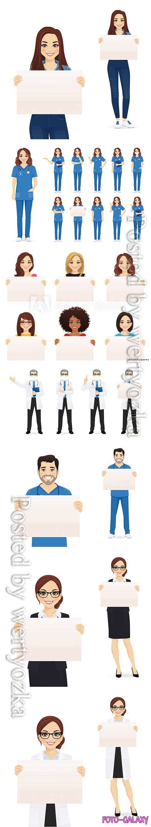 People set holding empty blank board isolated vector illustration