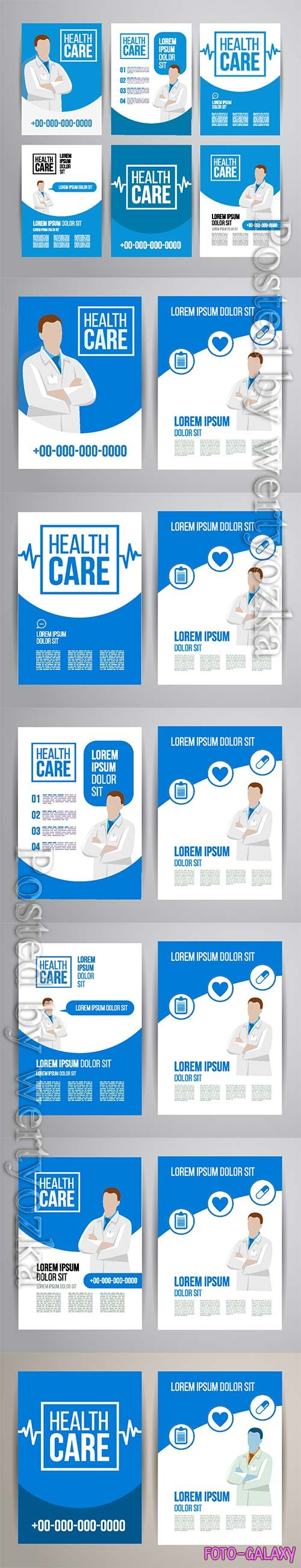 Healthcare brochure concept, clinic flyer design with doctor and medical icons