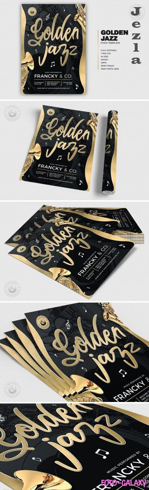 Golden Jazz Flyer Template V2 - 4931381