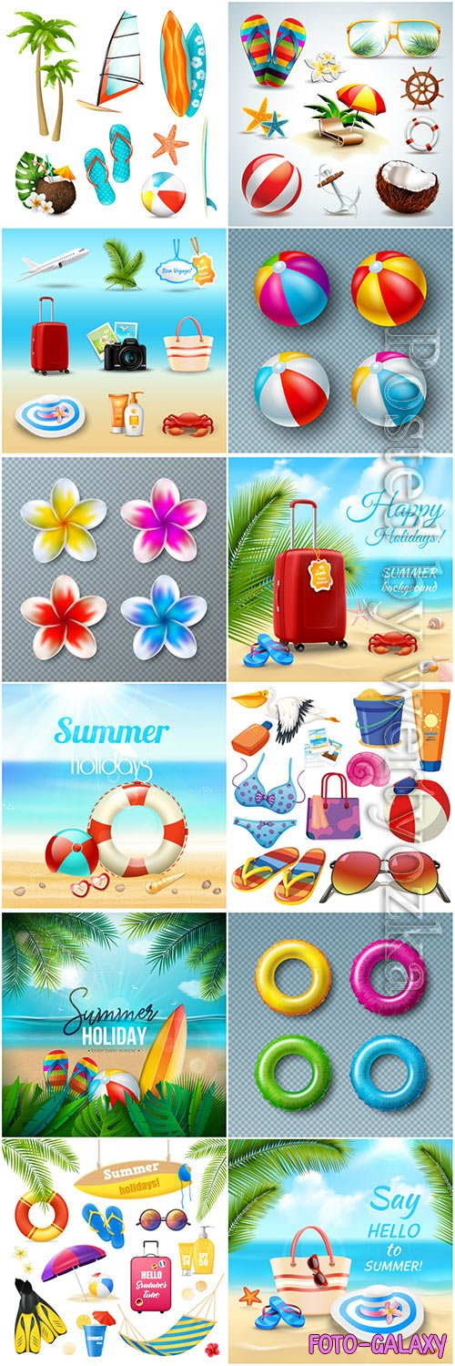 Hello summer holiday vector illustrations