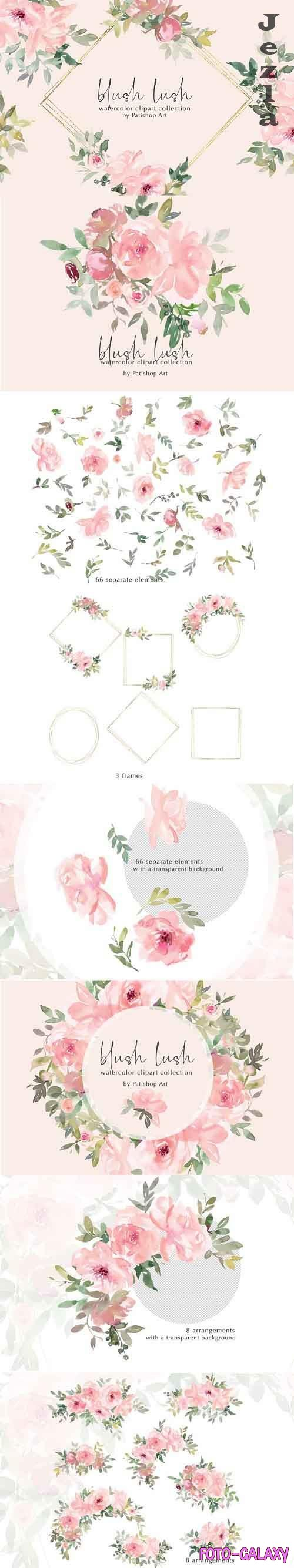 Blush Lush Watercolor Floral Clip Art Collection - 656617