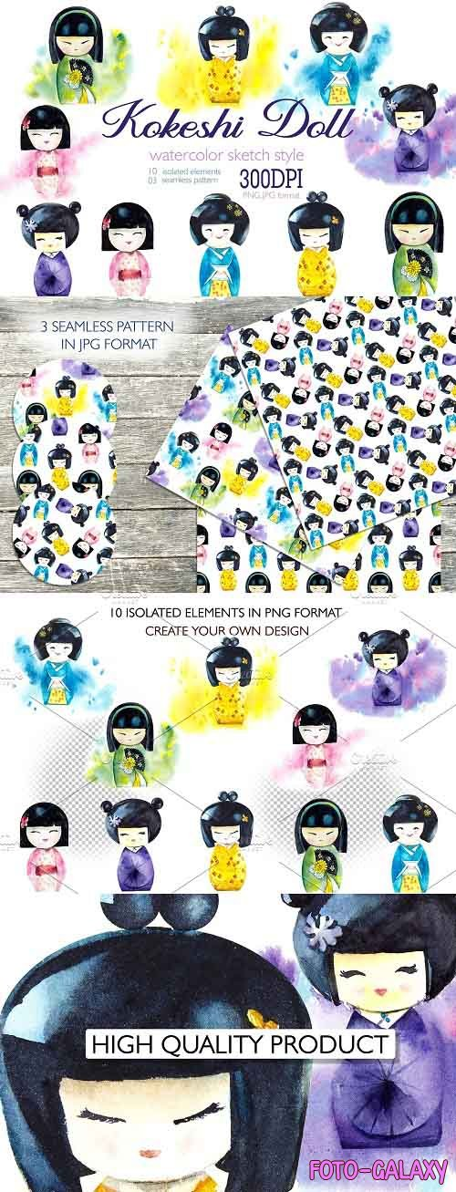 Watercolor clipart japanise doll - 5081355