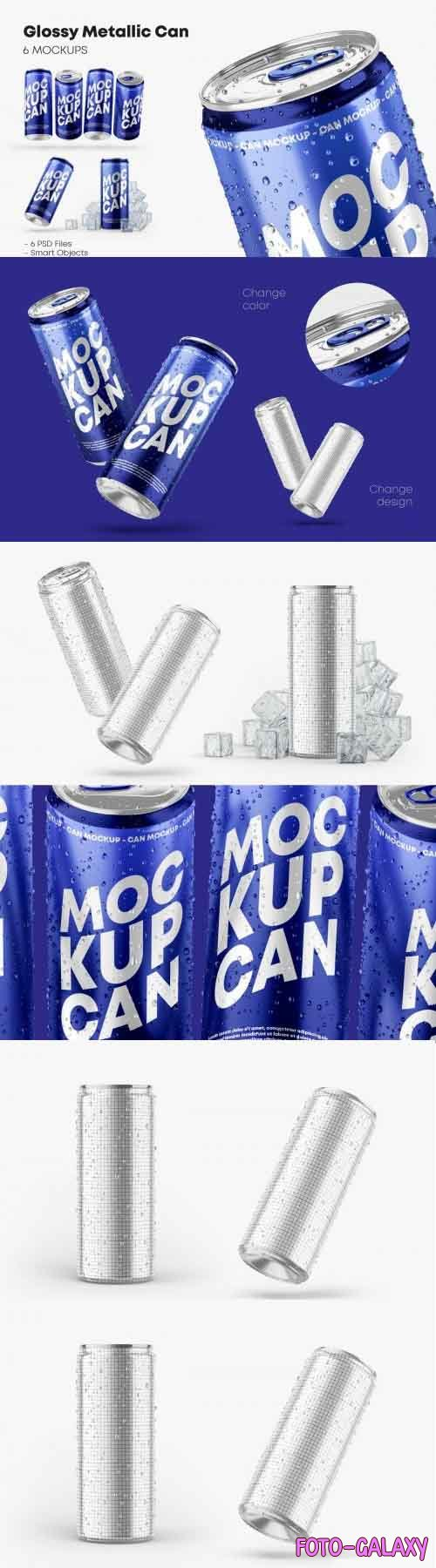 Glossy Metallic Can Mockup Set