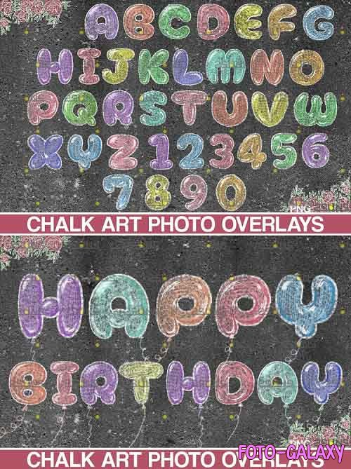 Chalkboard alphabet clipart Photoshop overlay Chalk art - 709572