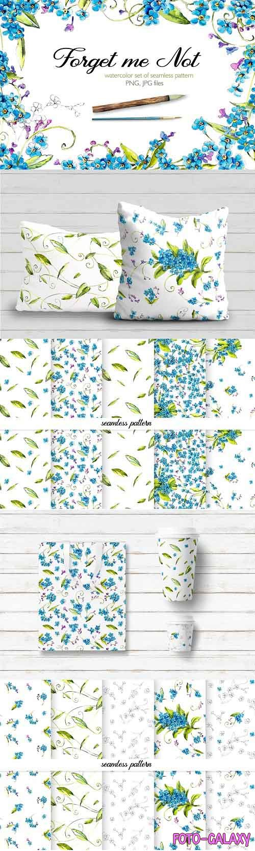 Seamless pattern of forget-me-not - 3816723