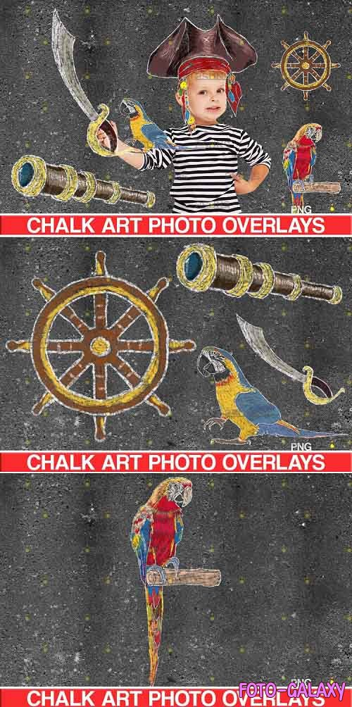 Sidewalk Chalk art Overlay, Baby Pirate backdrop - 723898