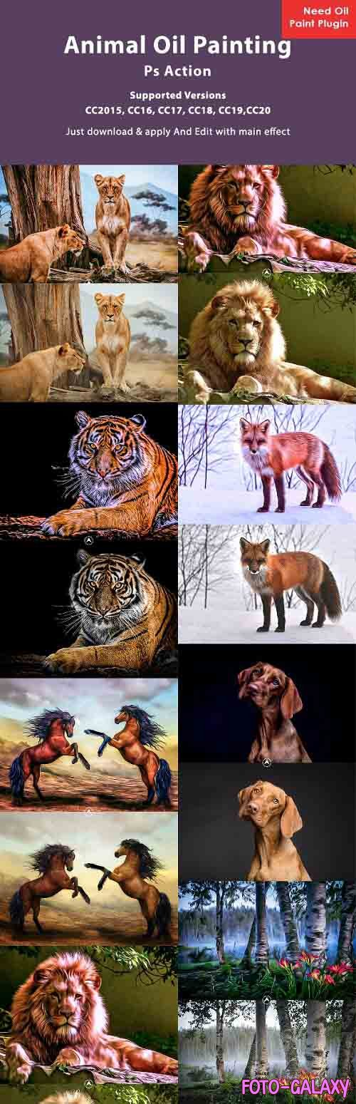 Animal Oil Painting Photoshop Action 26608753
