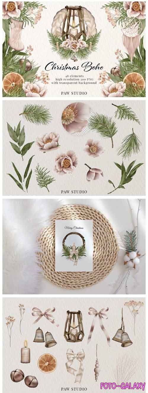 Christmas Clipart Boho Wreath Winter Holiday Decoration - 903000