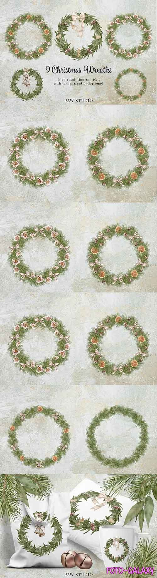 Christmas Wreath Clipart Winter Greenery Holidays New Year - 901101