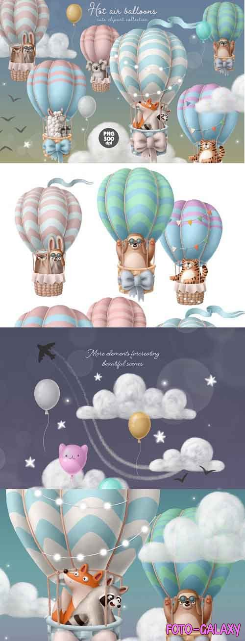 Hot air balloon with animals cute clipart set digital image - 929868