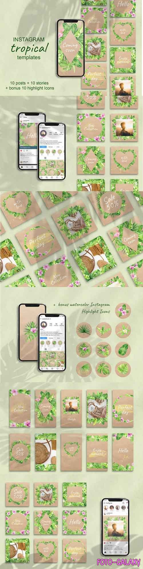 Tropical Instagram Template. Stories, Posts and Highlights - 897488