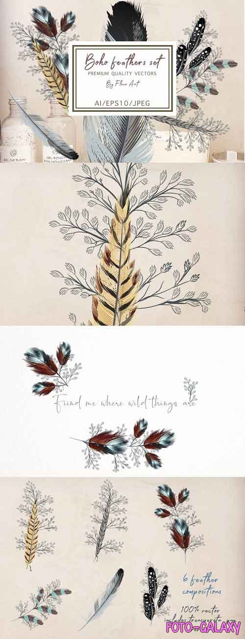 Bohemian mood feathers vector set - 952390