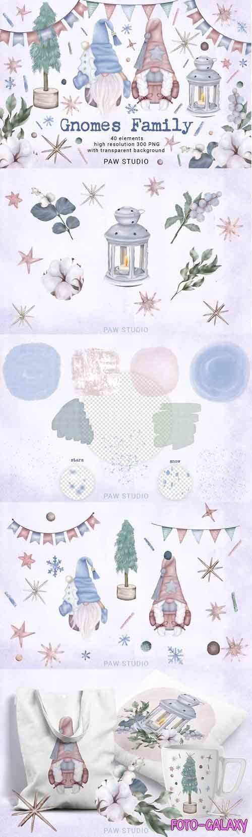 Christmas Gnomes Family Tree Star Lantern Winter Clipart - 980831