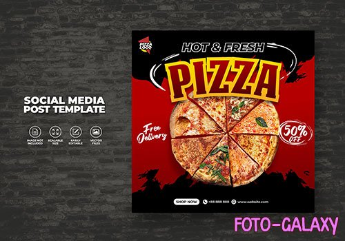 Food menu and delicious pizza restaurant for social media vector template