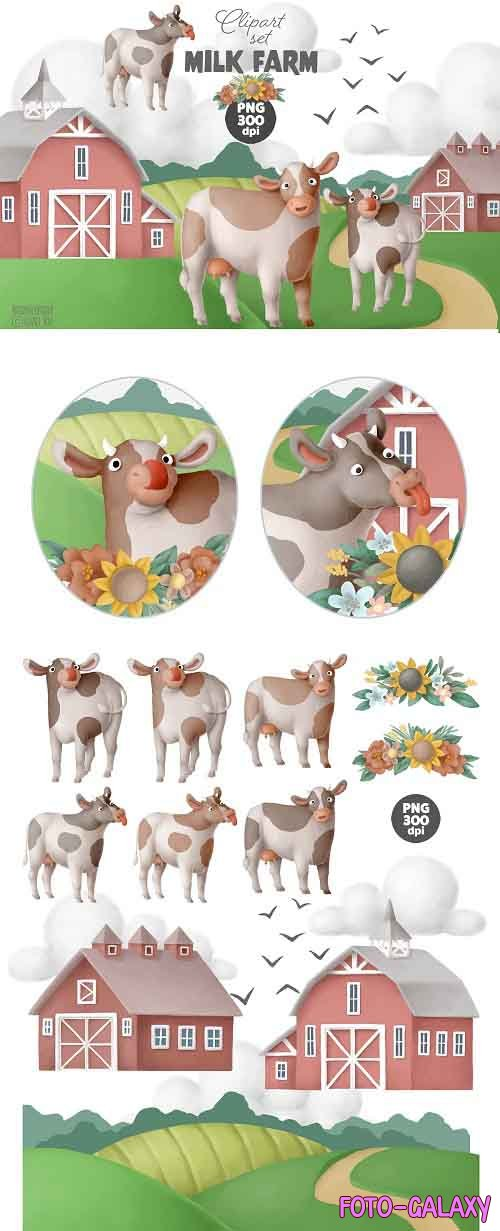 Milk Farm clipart set - 5465395