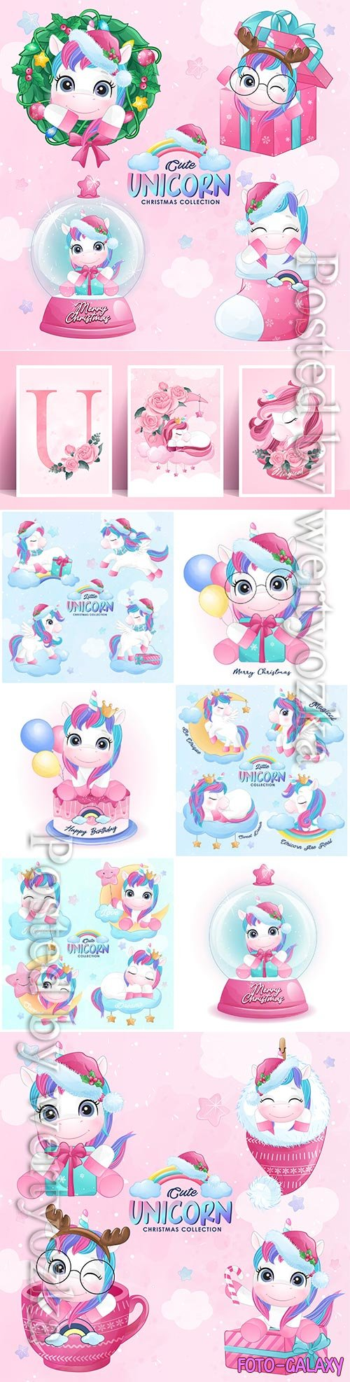 Cute doodle unicorn vector set in watercolor style