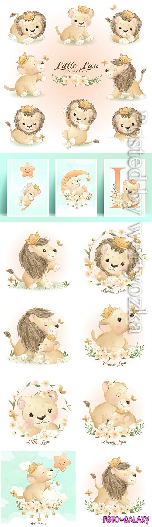Cute doodle lion poses with floral vector illustration