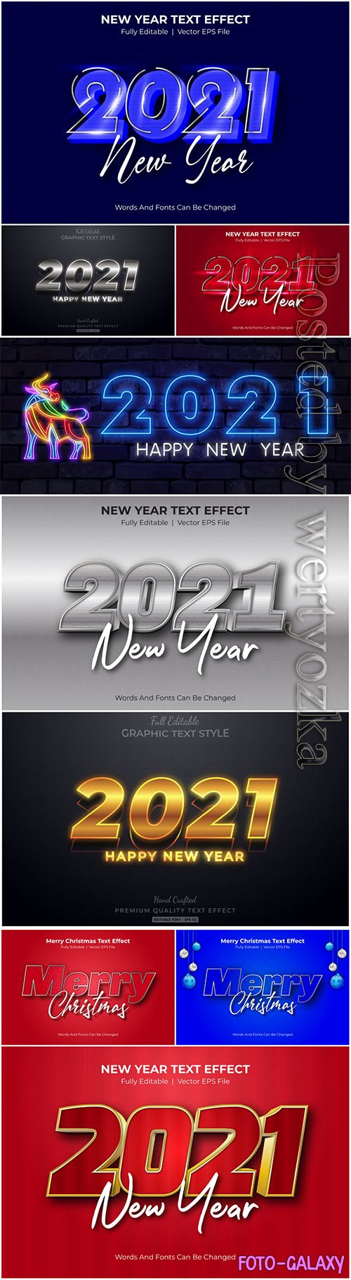 New year editable text style effect