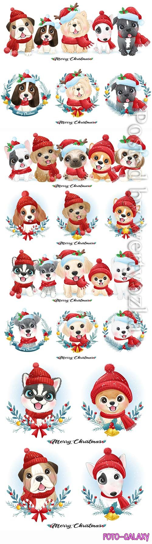 Cute doodle puppy for christmas with watercolor vector illustration