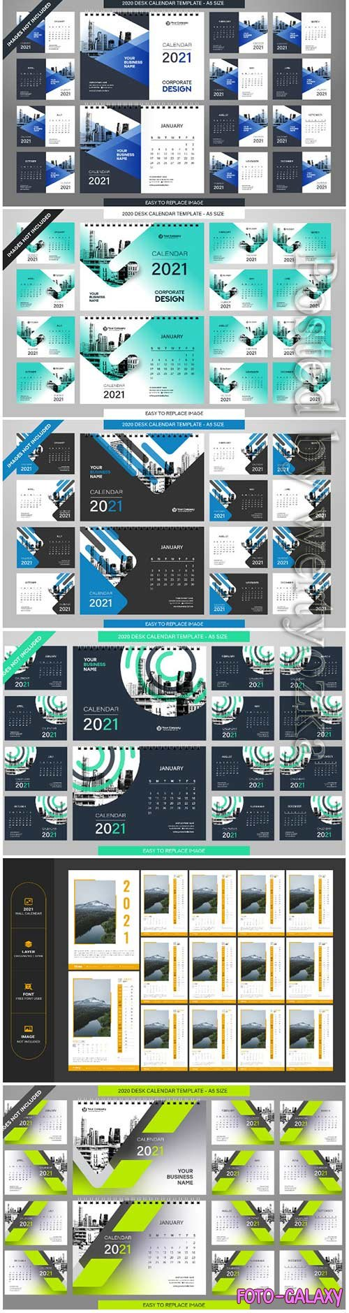 Desk calendar 2021 vector template - 12 months included