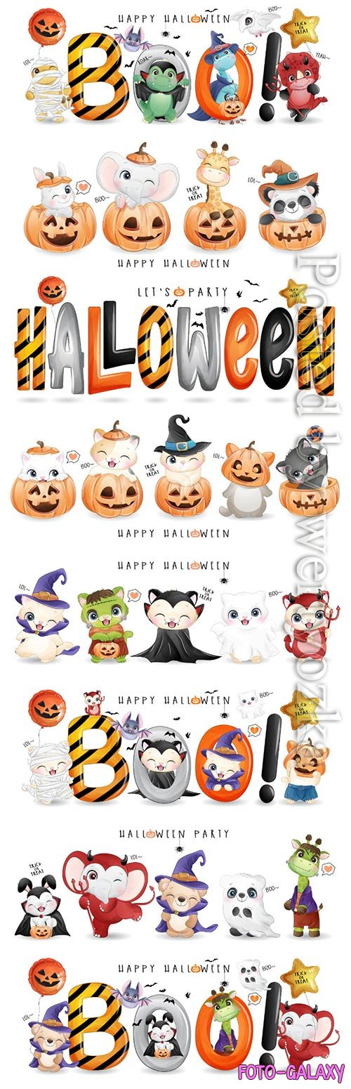 Cute animal for halloween day with watercolor vector illustration