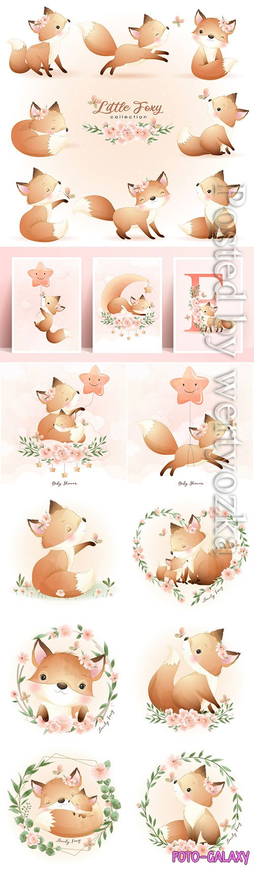 Cute doodle foxy poses with floral illustration premium vector