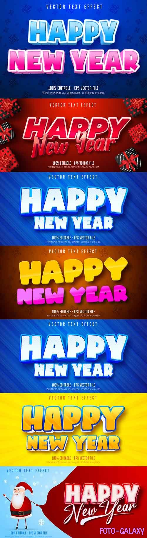 Editable font effect text collection illustration design 233 - Happy New Year