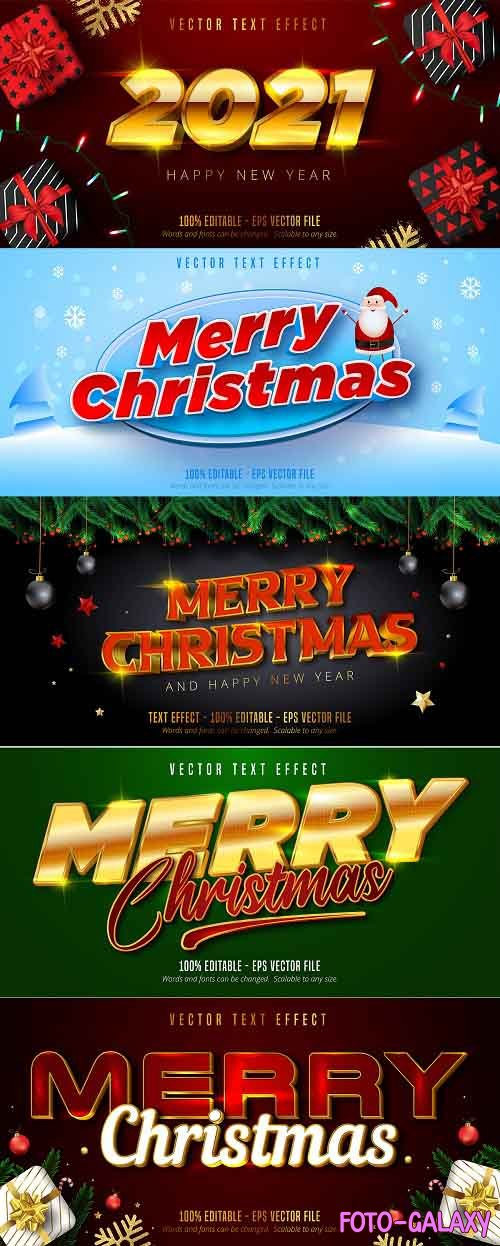 Editable font effect text collection illustration design 234 - Merry Christmas