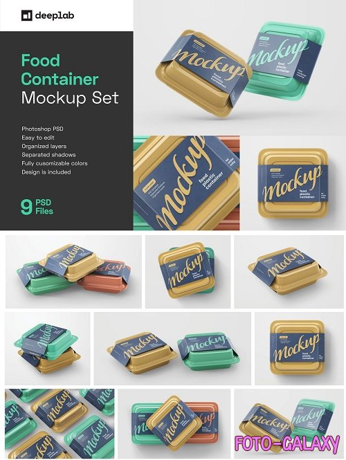CreativeMarket - Plastic Food Container Mockup Set 5548996