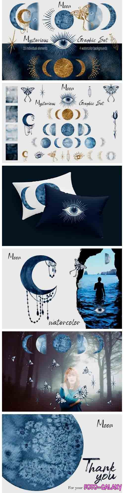 Watercolor moon clipart Magic mysterious space - 1035267