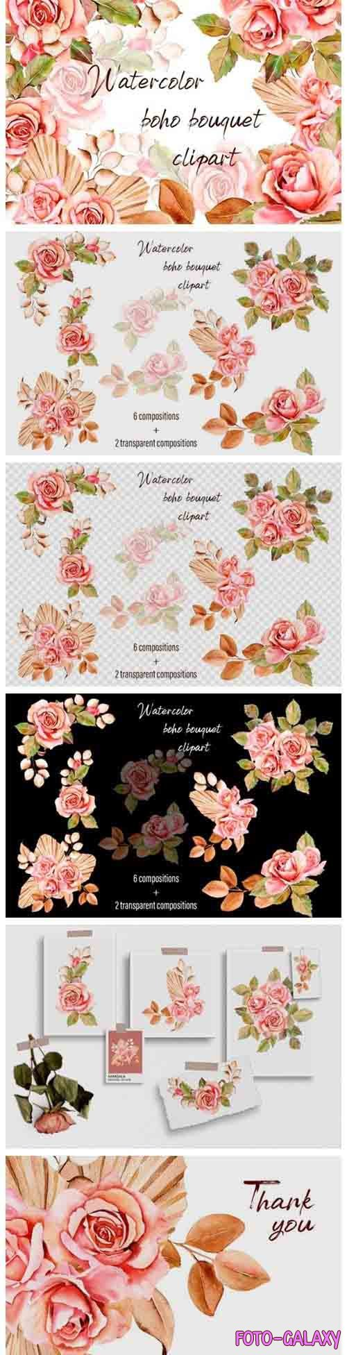 Watercolor bouquet pink roses - 1037713