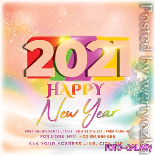 New Year 2021 Flyer PSD Template