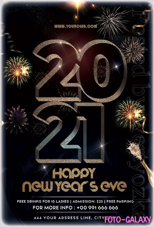 Happy New Year Eve 2021 PSD Flyer Template