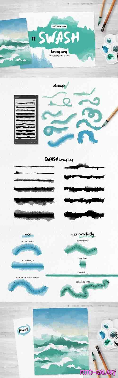 Swash Brushes for Illustrator - 3204240