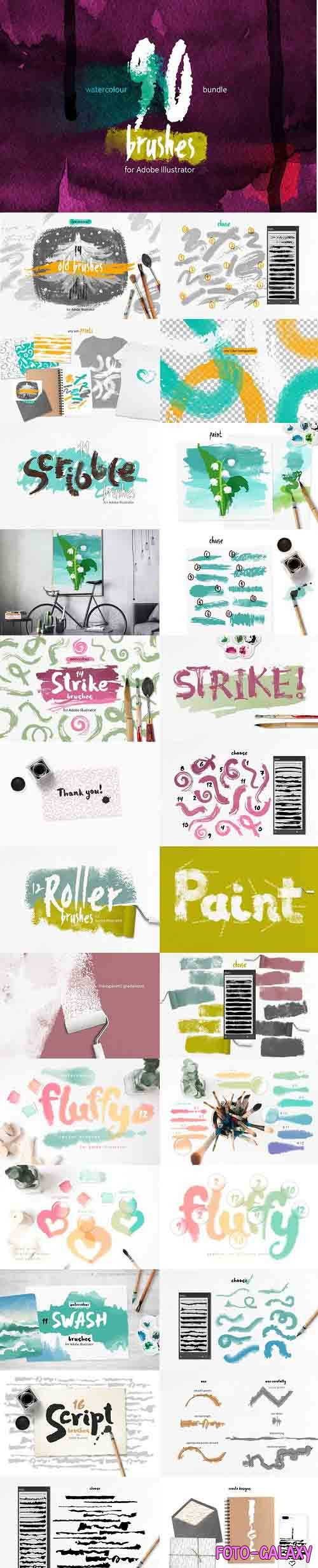 90 Watercolor Brushes BUNDLE - 3659430
