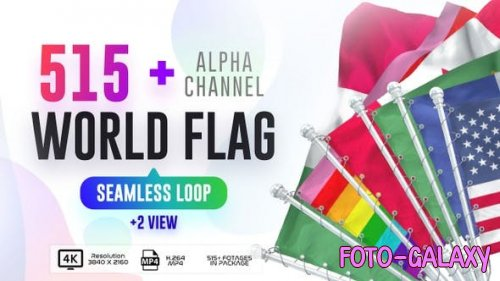 Videohive - Seamless Loop Of World Flags Footages Pack + Alpha - 28040319