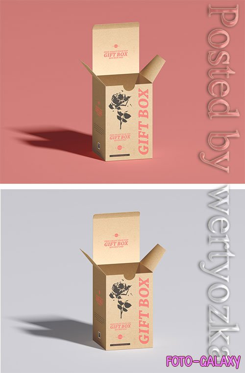 Kraft Tuck Top Gift Box Mockup PSD
