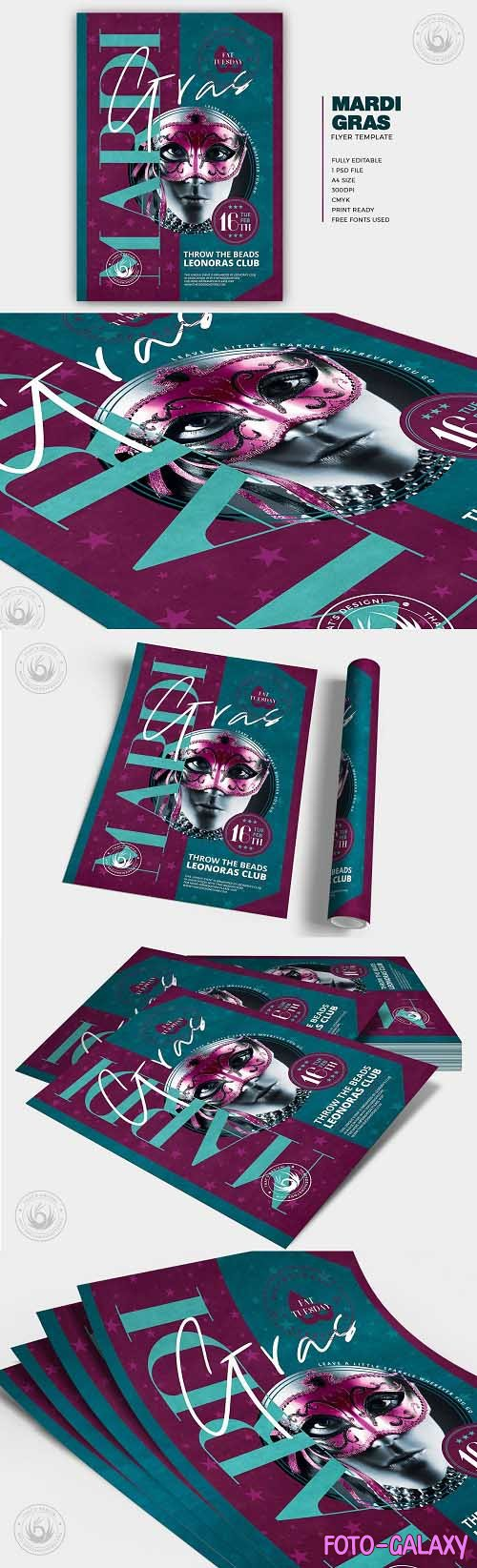 Mardi Gras Flyer Template V4 - 5764564