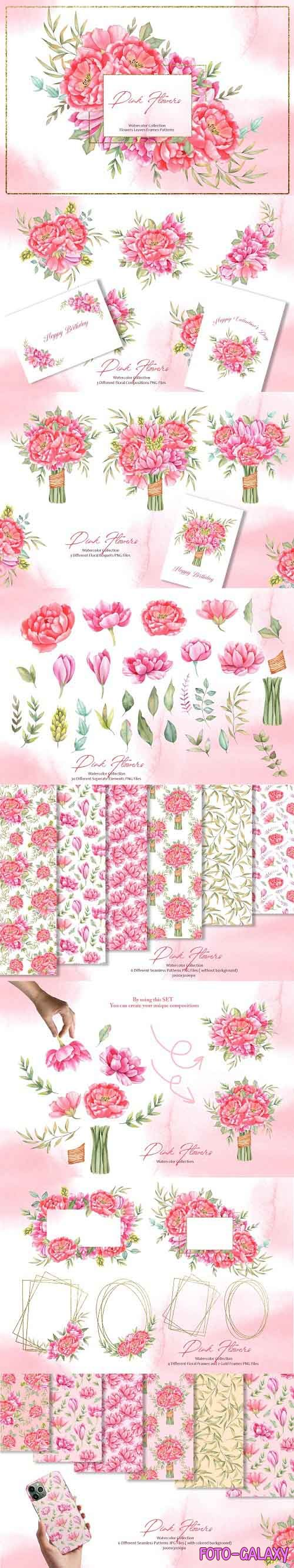 Watercolor Pink Flowers Collection - 5736669