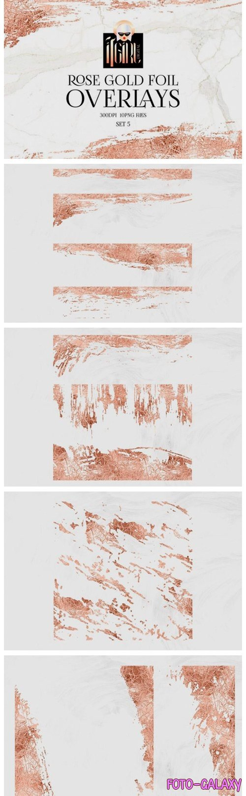 Rose Gold Foil Abstract Frames Clipart - 1157457