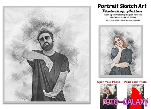 CreativeMarket - Portrait Sketch Art Photoshop Action 5814489