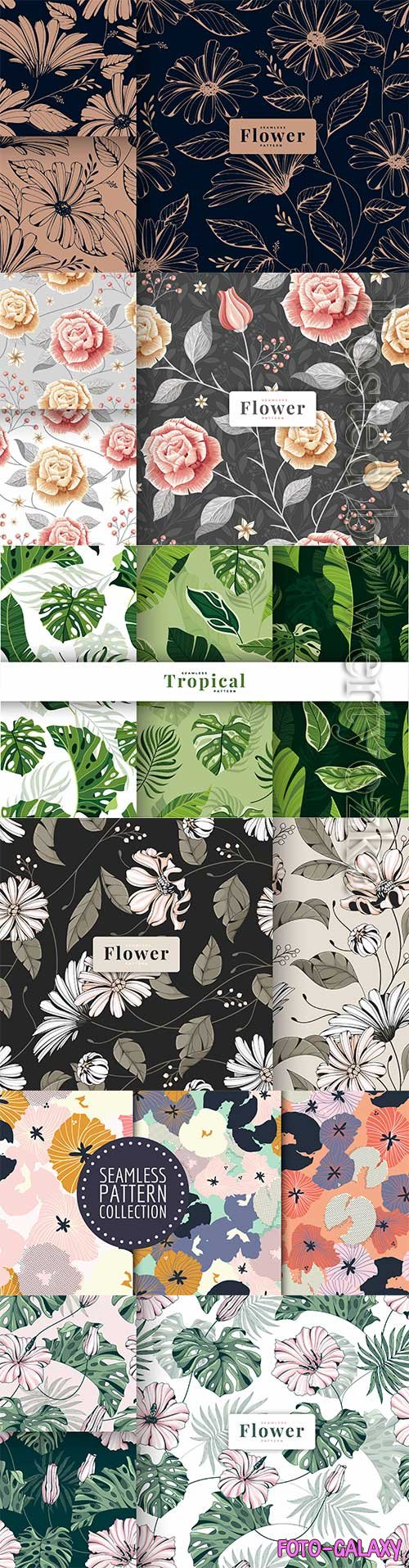 Collection hand drawn vintage floral seamless pattern