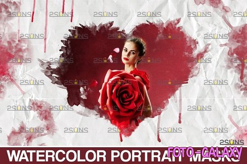 Watercolor Valentine overlay:  brushes, Portrait clipping masks, Frame png
