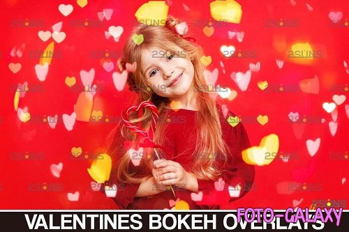 Valentines overlay photoshop & Bokeh heart backdrop V11